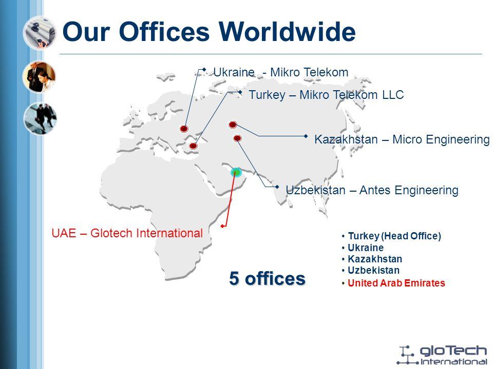 Turkey (Head Office) Ukraine Kazakhstan Uzbekistan 5 offices Turkey – Mikro Telekom LLC Our Offices Worldwide United Arab Emirates Kazakhstan – Micro Engineering Ukraine - Mikro Telekom Uzbekistan – Antes Engineering UAE – Glotech International