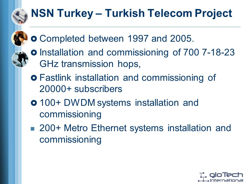 NSN Turkey – Turkish Telecom Project Completed between 1997 and 2005.