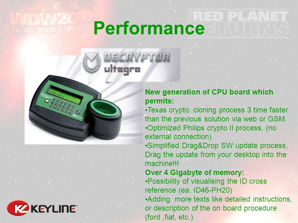 Performance New generation of CPU board which permits: Texas crypto.