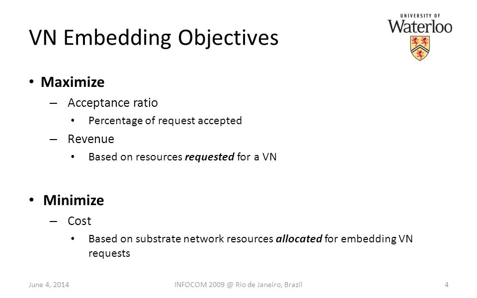 VN Embedding Objectives Maximize – Acceptance ratio Percentage of request accepted – Revenue Based on resources requested for a VN Minimize – Cost Based on substrate network resources allocated for embedding VN requests June 4, 20144INFOCOM 2009 @ Rio de Janeiro, Brazil