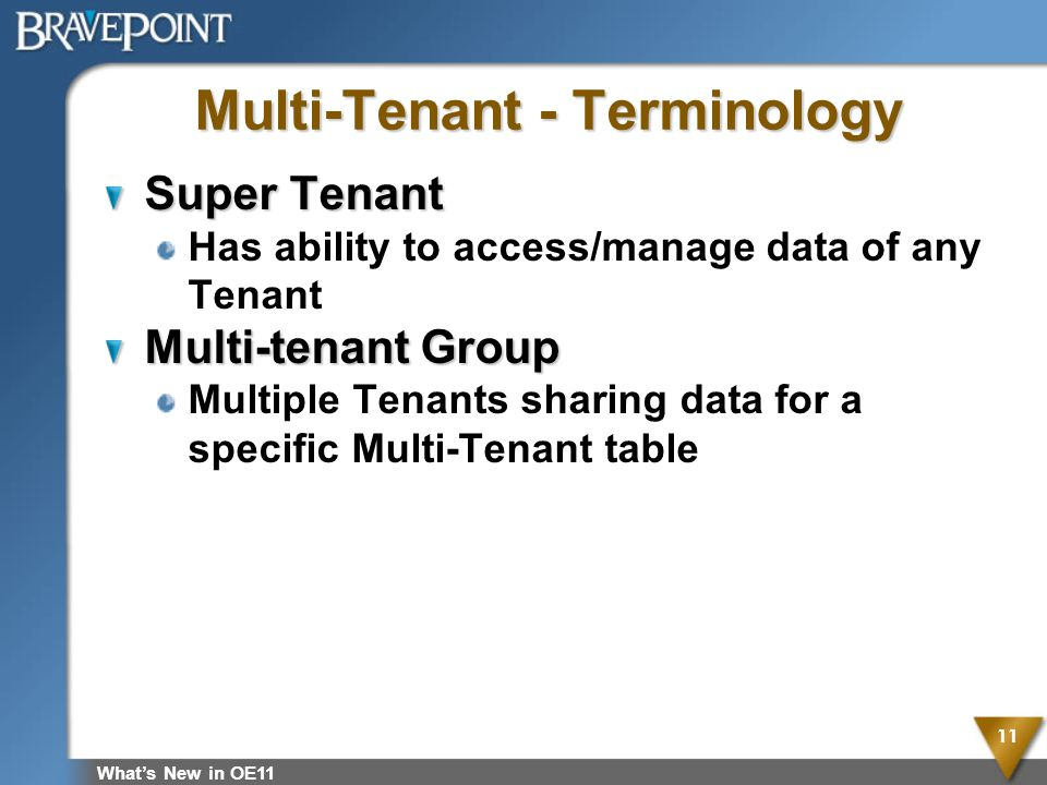 Multi-Tenant - Terminology Super Tenant Has ability to access/manage data of any Tenant Multi-tenant Group Multiple Tenants sharing data for a specifi