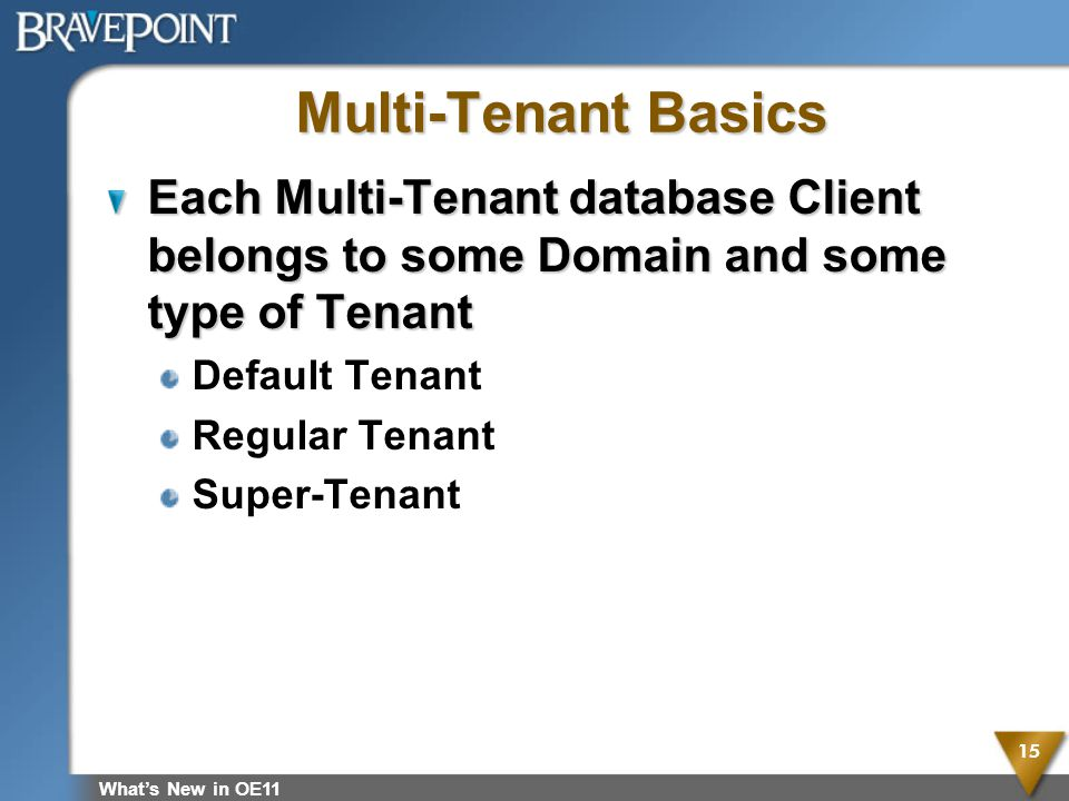 Multi-Tenant Basics Each Multi-Tenant database Client belongs to some Domain and some type of Tenant Default Tenant Regular Tenant Super-Tenant Whats