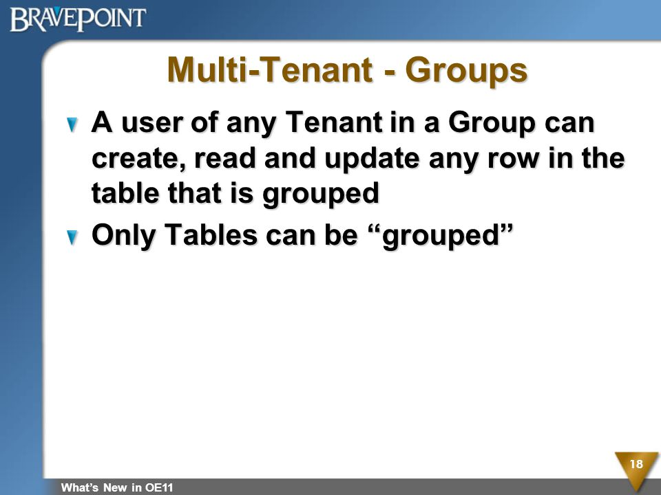 Multi-Tenant - Groups A user of any Tenant in a Group can create, read and update any row in the table that is grouped Only Tables can be grouped What