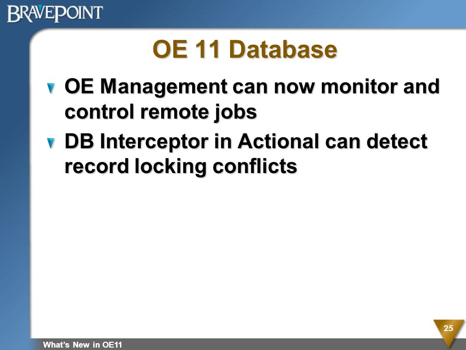 OE 11 Database OE Management can now monitor and control remote jobs DB Interceptor in Actional can detect record locking conflicts Whats New in OE11