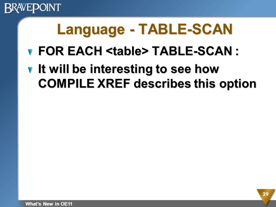 Language - TABLE-SCAN FOR EACH TABLE-SCAN : It will be interesting to see how COMPILE XREF describes this option Whats New in OE11 29