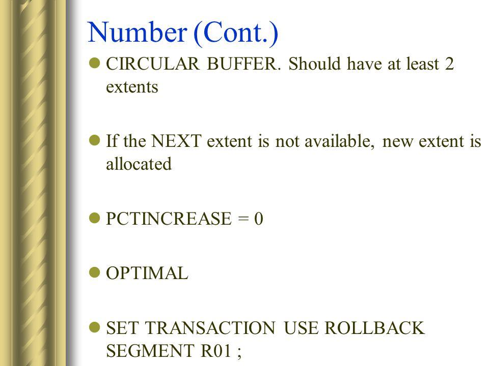 Number (Cont.) CIRCULAR BUFFER.