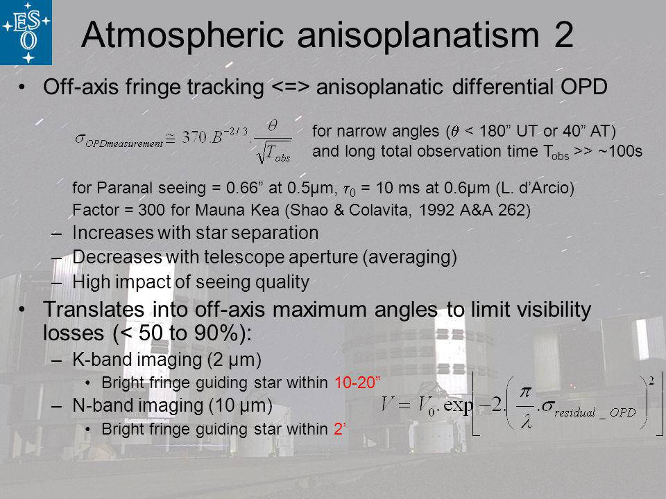 Off-axis fringe tracking anisoplanatic differential OPD for Paranal seeing = 0.66 at 0.5µm, 0 = 10 ms at 0.6µm (L.