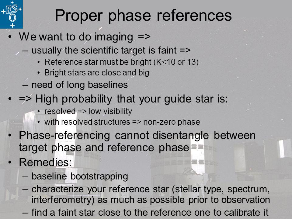 Proper phase references We want to do imaging => –usually the scientific target is faint => Reference star must be bright (K<10 or 13) Bright stars are close and big –need of long baselines => High probability that your guide star is: resolved => low visibility with resolved structures => non-zero phase Phase-referencing cannot disentangle between target phase and reference phase Remedies: –baseline bootstrapping –characterize your reference star (stellar type, spectrum, interferometry) as much as possible prior to observation –find a faint star close to the reference one to calibrate it