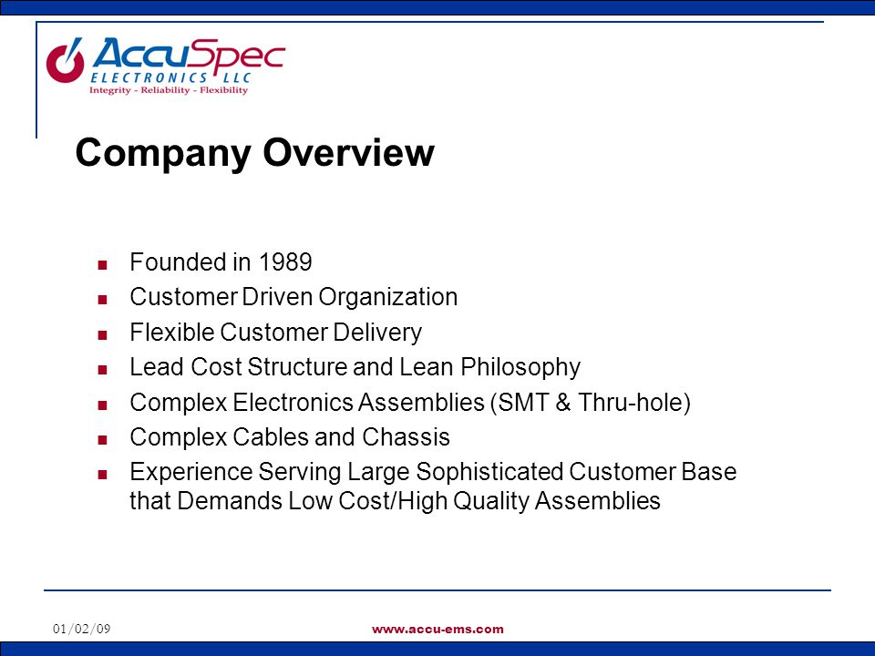 01/02/09 www.accu-ems.com Alternatives and Substitutions AccuSpec Provides Engineering Support for Obsolete, End-of-Life Parts, and Part Substitutions Due to Out-of-Stock Situations.