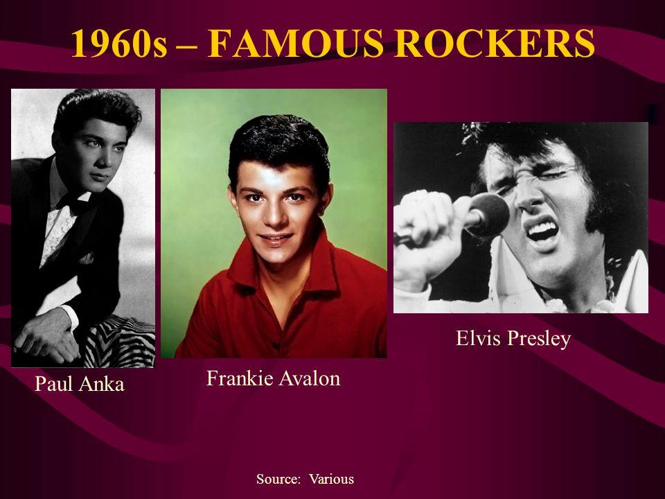 1960s – FAMOUS ROCKERS Source: Various Paul Anka Frankie Avalon Elvis Presley