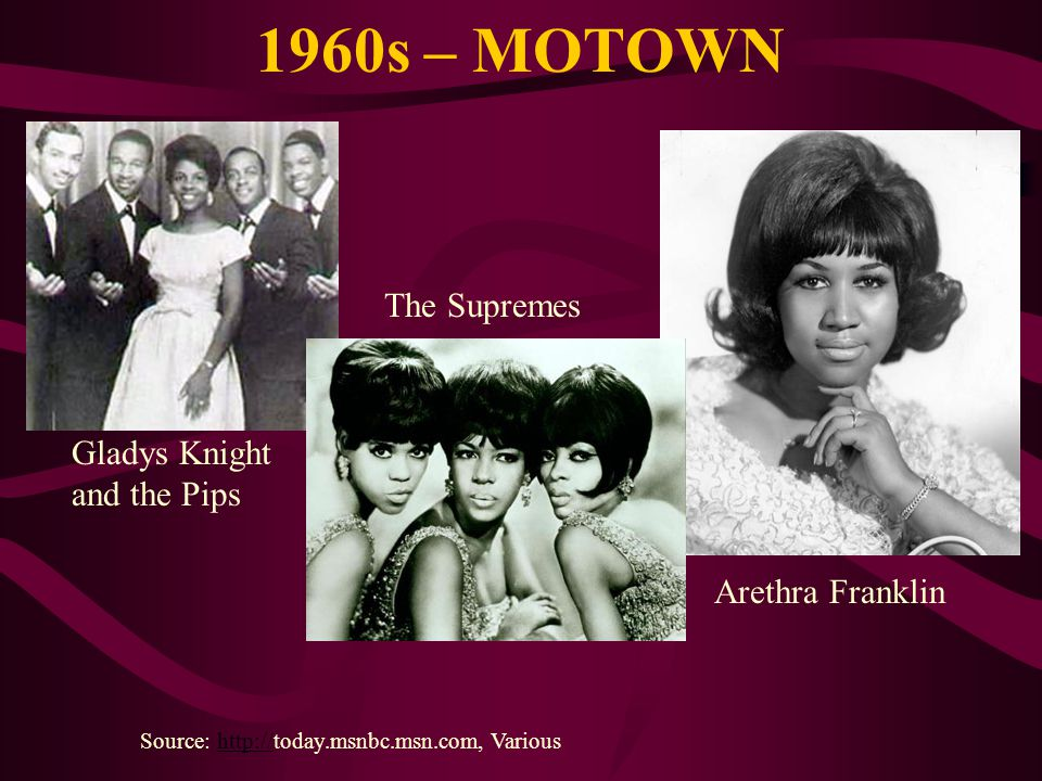1960s – MOTOWN Source: http://today.msnbc.msn.com, Varioushttp:// Gladys Knight and the Pips Arethra Franklin The Supremes