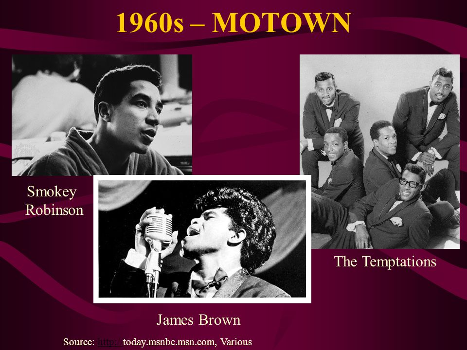 1960s – MOTOWN Source: http://today.msnbc.msn.com, Varioushttp:// Smokey Robinson The Temptations James Brown