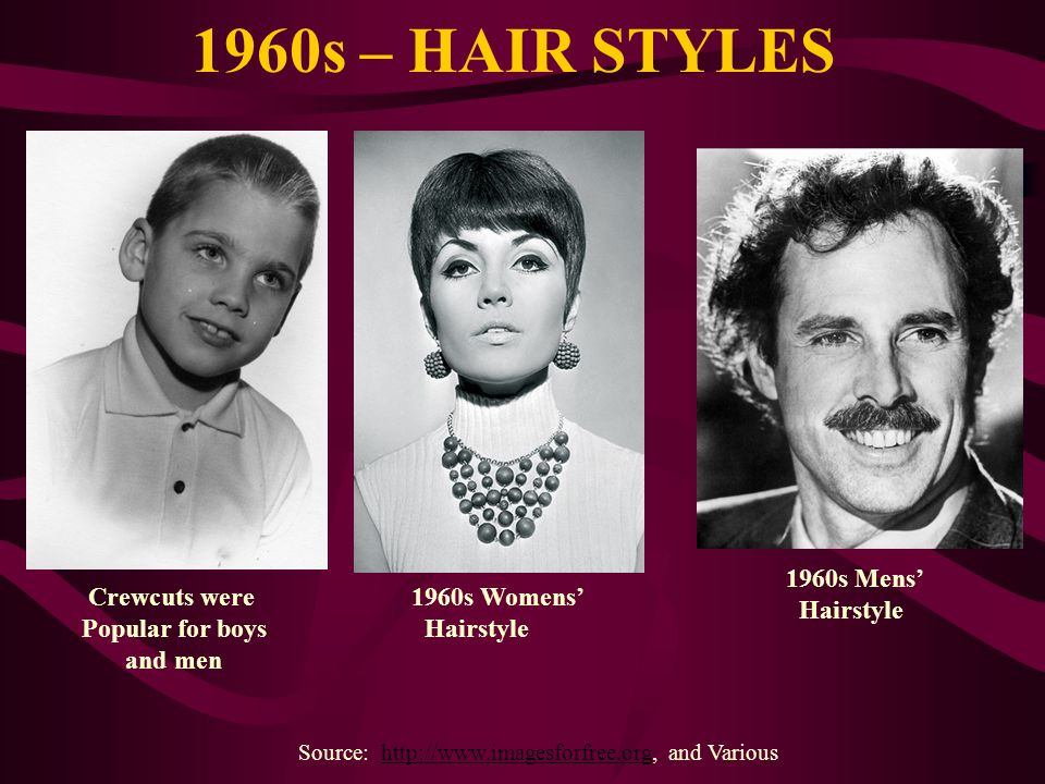 1960s – HAIR STYLES Source: http://www.imagesforfree.org, and Varioushttp://www.imagesforfree.org Crewcuts were Popular for boys and men 1960s Mens Ha