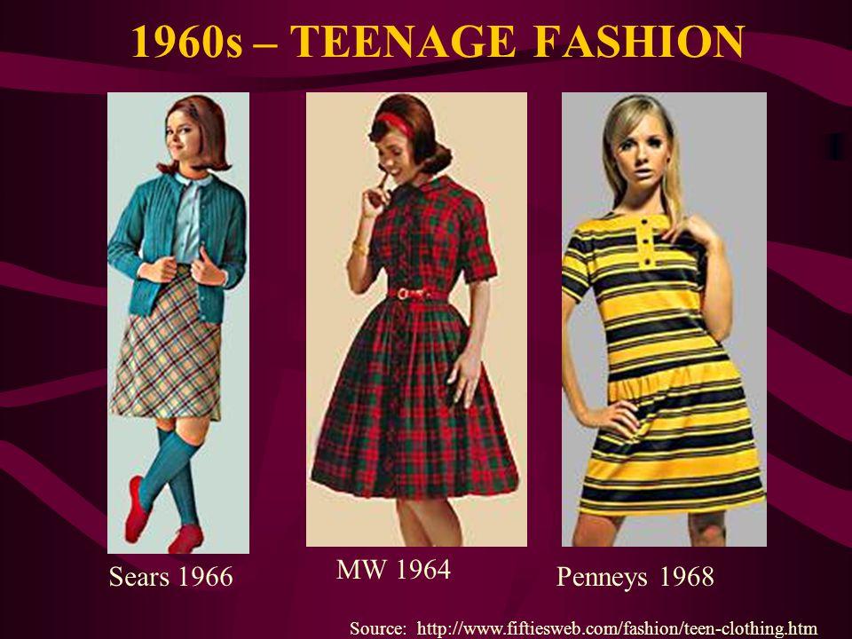 1960s – TEENAGE FASHION Source: http://www.fiftiesweb.com/fashion/teen-clothing.htm Sears 1966 MW 1964 Penneys 1968