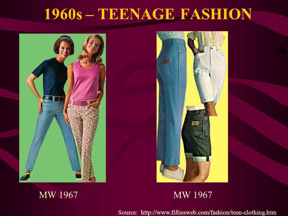 1960s – TEENAGE FASHION Source: http://www.fiftiesweb.com/fashion/teen-clothing.htm MW 1967
