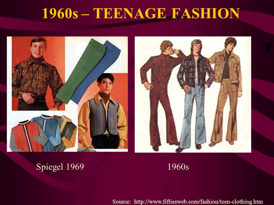 1960s – TEENAGE FASHION Source: http://www.fiftiesweb.com/fashion/teen-clothing.htm Spiegel 19691960s