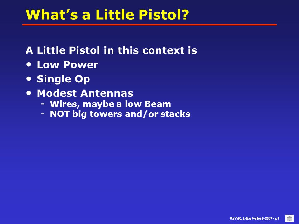 K2YWE Little Pistol 6-2007 - p3 Agenda Whats this about? Who is K2YWE? Elements of Success Preparation Contest Basics (refresher) Strategy Station Con