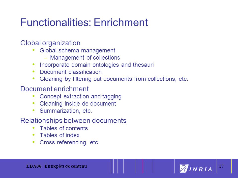 17 EDA06 - Entrepôts de contenu17 Functionalities: Enrichment Global organization Global schema management –Management of collections Incorporate domain ontologies and thesauri Document classification Cleaning by filtering out documents from collections, etc.