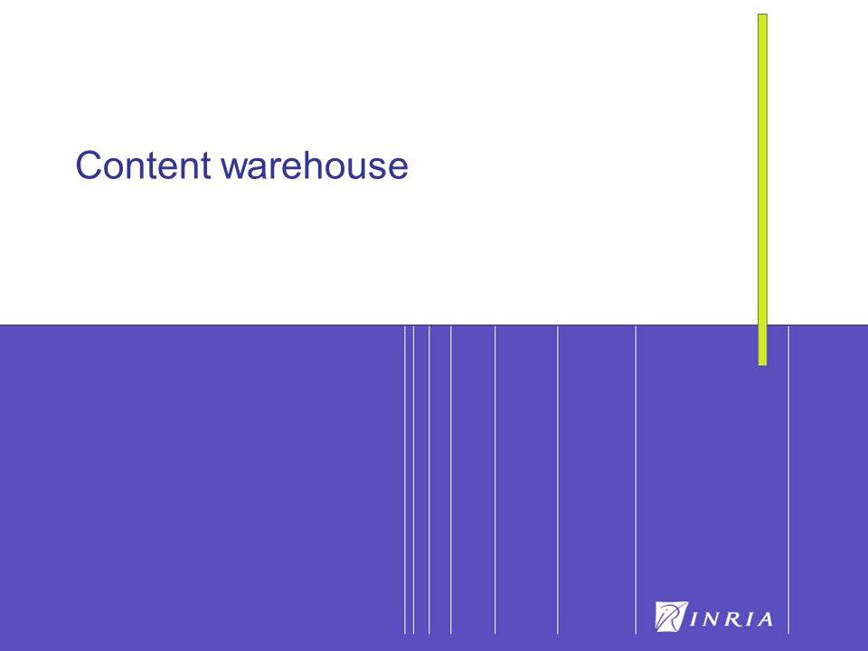 8 EDA06 - Entrepôts de contenu8 Warehouse Goal: integrated access to heterogeneous, autonomous, distributed sources of information Main functionalities: acquire, transform, filter, clean and integrate data, support for queries Warehouse vs.