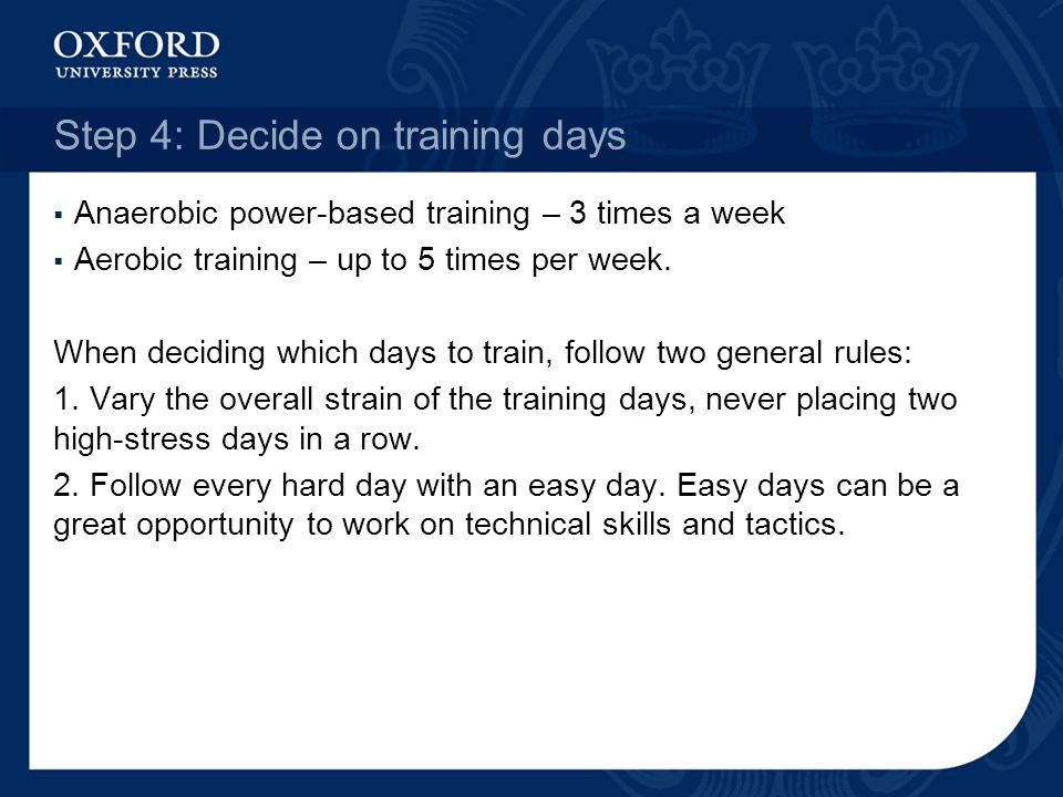 Step 4: Decide on training days Anaerobic power-based training – 3 times a week Aerobic training – up to 5 times per week. When deciding which days to