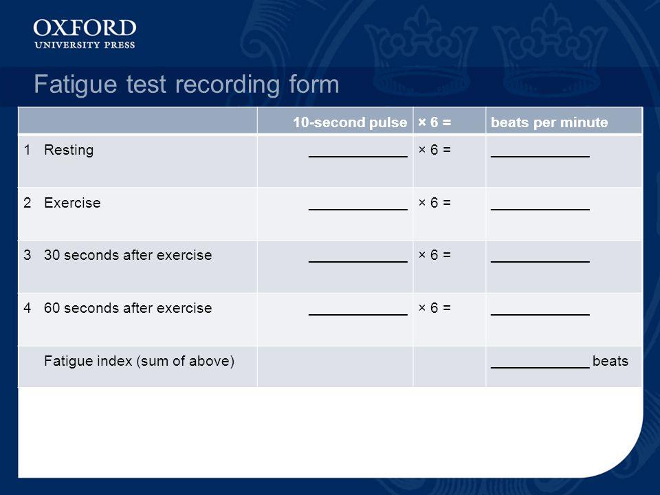Fatigue test recording form 10-second pulse× 6 =beats per minute 1 Resting____________× 6 = ____________ 2 Exercise____________× 6 = ____________ 3 30