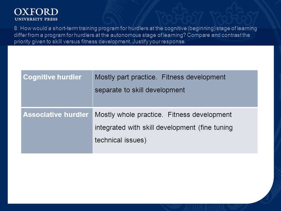 8. How would a short-term training program for hurdlers at the cognitive (beginning) stage of learning differ from a program for hurdlers at the auton