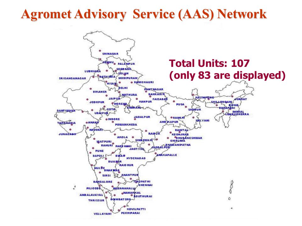 Agromet Advisory Service (AAS) Network Total Units: 107 (only 83 are displayed)