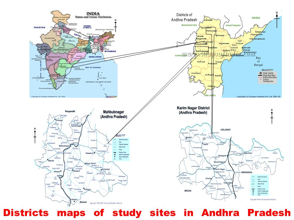 Districts maps of study sites in Andhra Pradesh India.