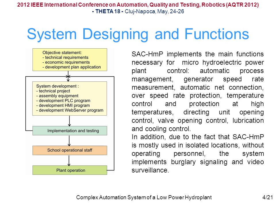 The admission valve position is given by a slope sensor mounted on its arm, and cooling water and lubrication oil control is done by mounting on their flow translator circuits on the calorithmetic principle 2012 IEEE International Conference on Automation, Quality and Testing, Robotics (AQTR 2012) - THETA 18 - Cluj-Napoca, May, 24-26 Complex Automation System of a Low Power Hydroplant Water & Oil flow Sensors 15/21