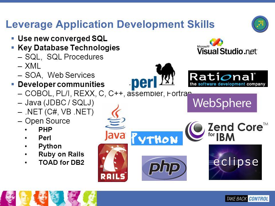 Leverage Application Development Skills Use new converged SQL Key Database Technologies –SQL, SQL Procedures –XML –SOA, Web Services Developer communi
