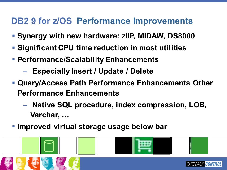 Synergy with new hardware: zIIP, MIDAW, DS8000 Significant CPU time reduction in most utilities Performance/Scalability Enhancements – Especially Inse