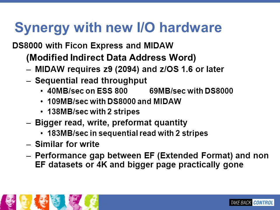 Synergy with new I/O hardware DS8000 with Ficon Express and MIDAW (Modified Indirect Data Address Word) –MIDAW requires z9 (2094) and z/OS 1.6 or late