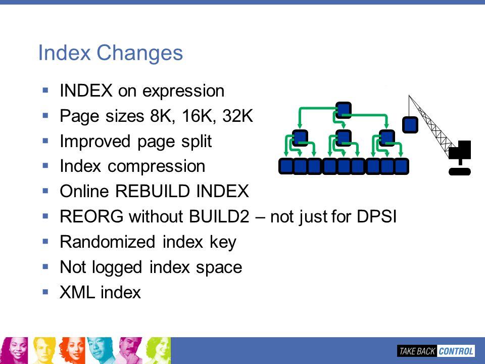 Index Changes INDEX on expression Page sizes 8K, 16K, 32K Improved page split Index compression Online REBUILD INDEX REORG without BUILD2 – not just f