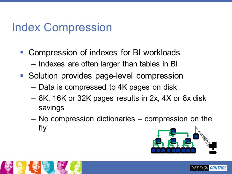 Index Compression Compression of indexes for BI workloads –Indexes are often larger than tables in BI Solution provides page-level compression –Data i