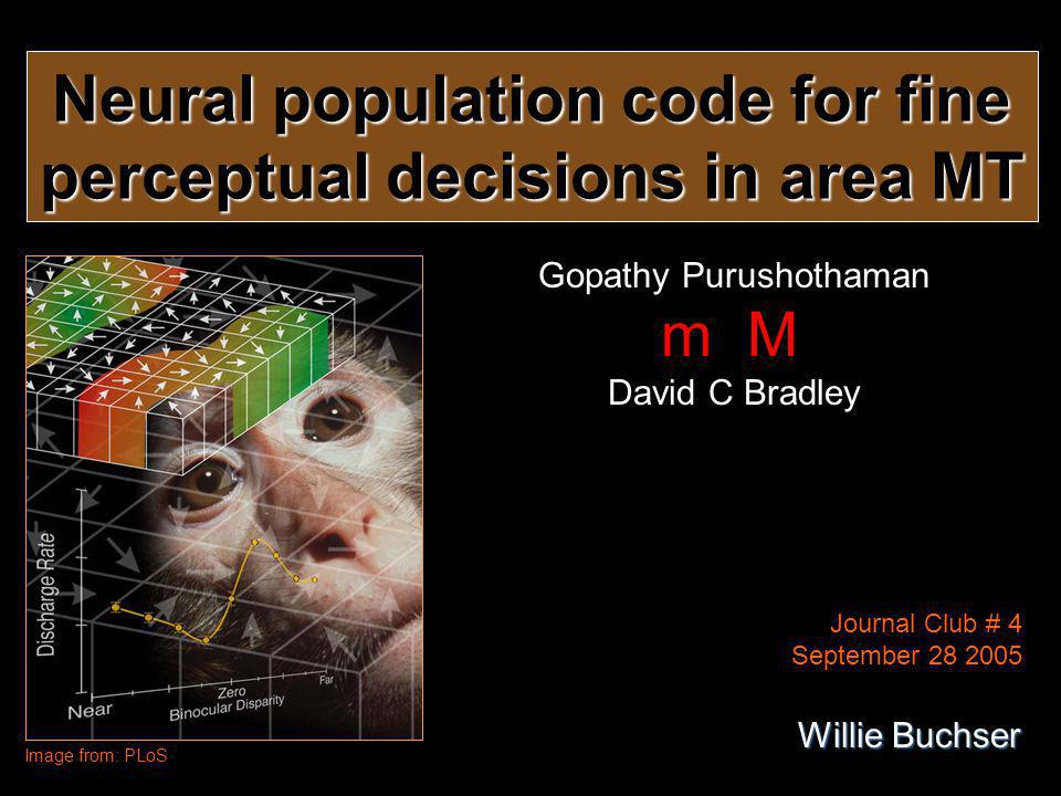 Neural population code for fine perceptual decisions in area MT Gopathy Purushothaman m M David C Bradley Image from: PLoS Journal Club # 4 September 28 2005 Willie Buchser
