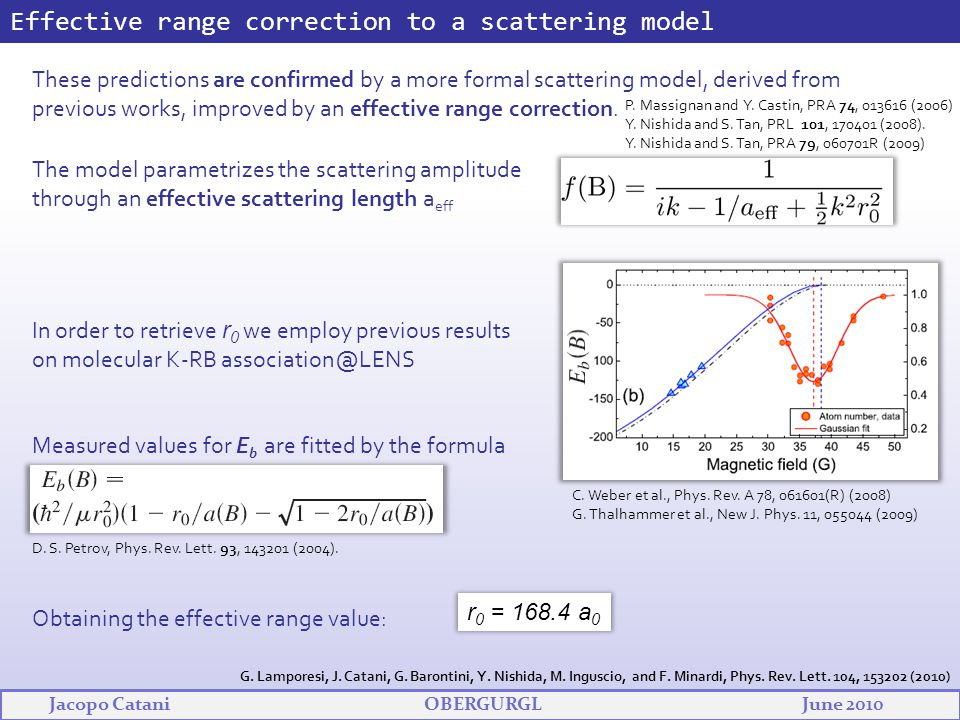 Effective range correction to a scattering model These predictions are confirmed by a more formal scattering model, derived from previous works, impro