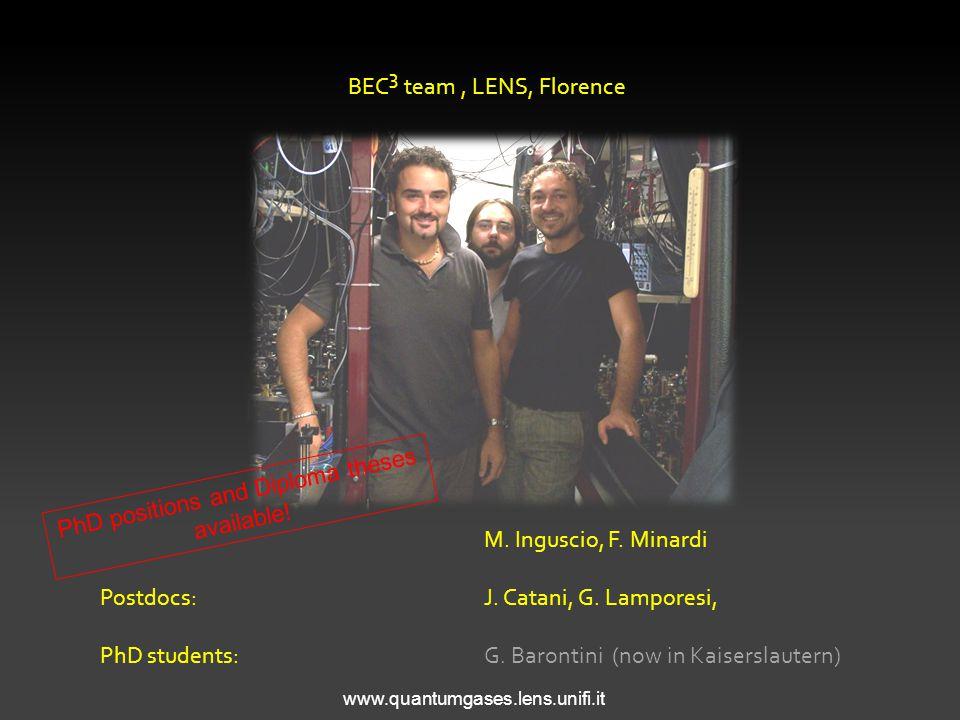 BEC 3 team, LENS, Florence M. Inguscio, F. Minardi Postdocs: J.