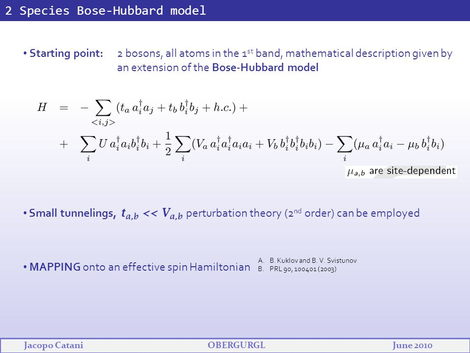 2 Species Bose-Hubbard model Starting point: 2 bosons, all atoms in the 1 st band, mathematical description given by an extension of the Bose-Hubbard