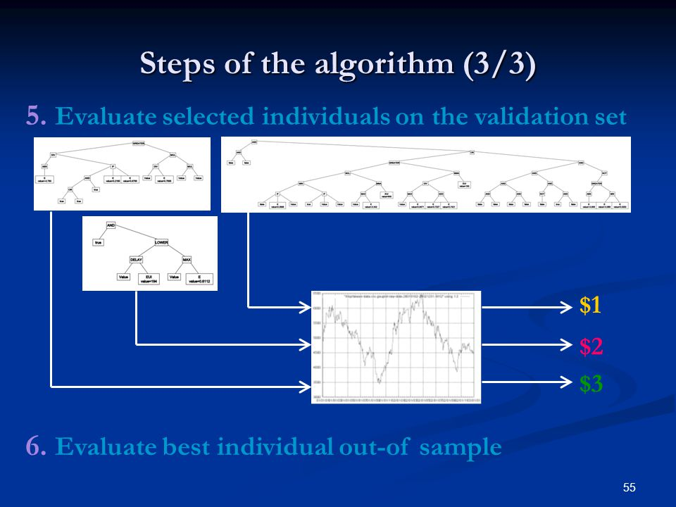 55 Steps of the algorithm (3/3) 5. Evaluate selected individuals on the validation set 6.