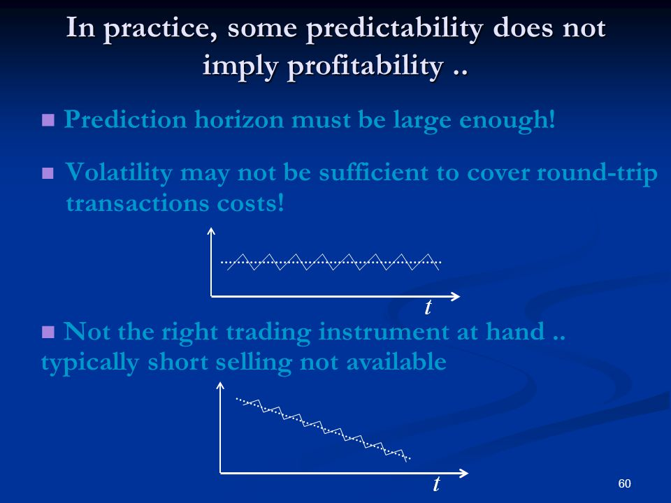 60 In practice, some predictability does not imply profitability.. Volatility may not be sufficient to cover round-trip transactions costs! Not the ri