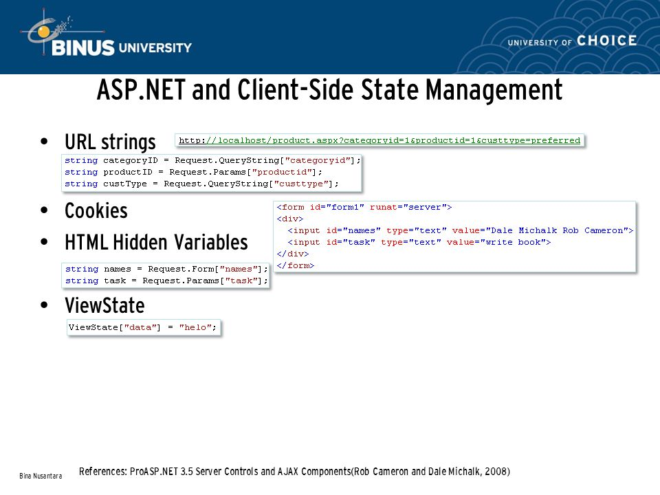 ASP.NET and Client-Side State Management URL strings Cookies HTML Hidden Variables ViewState Bina Nusantara References: ProASP.NET 3.5 Server Controls