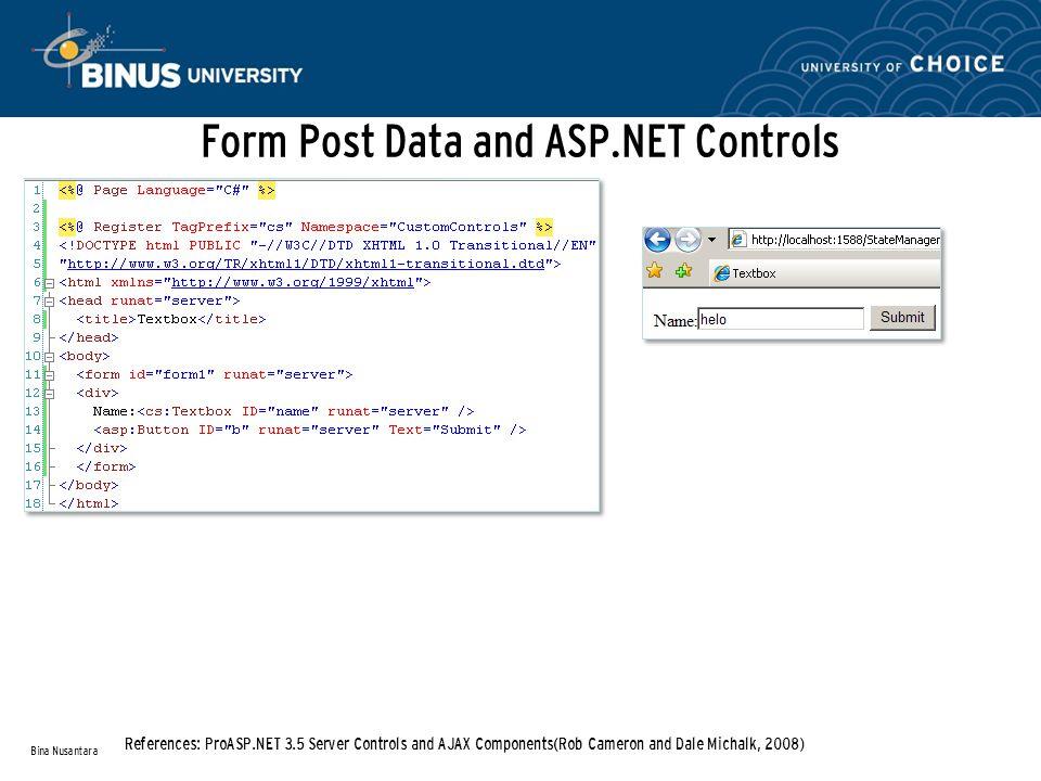Form Post Data and ASP.NET Controls Bina Nusantara References: ProASP.NET 3.5 Server Controls and AJAX Components(Rob Cameron and Dale Michalk, 2008)