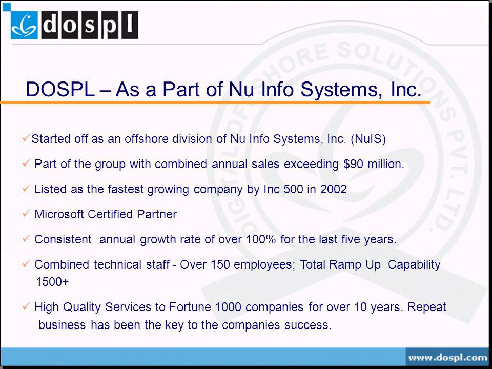 DOSPL – As a Part of Nu Info Systems, Inc. Started off as an offshore division of Nu Info Systems, Inc. (NuIS) Part of the group with combined annual
