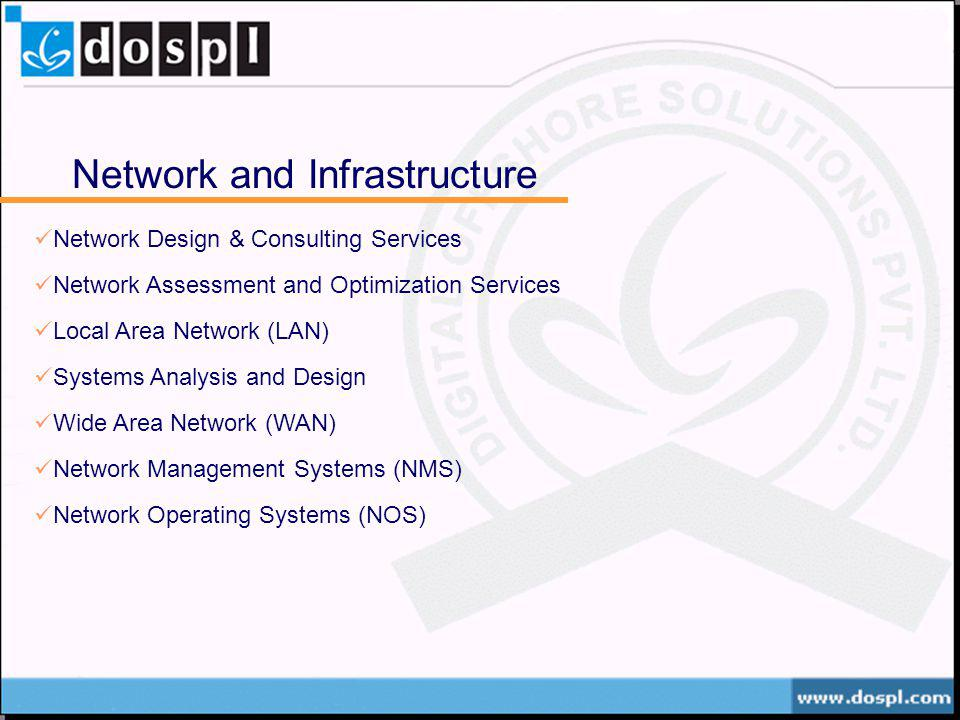 Network and Infrastructure Network Design & Consulting Services Network Assessment and Optimization Services Local Area Network (LAN) Systems Analysis