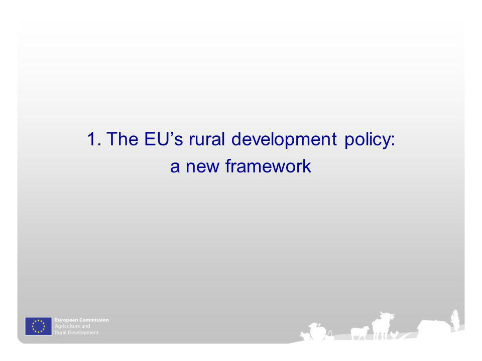 4 Single framework for CSF funds - simplification and harmonisation of rules –Common Strategic Framework and Partnership Contract –Performance review based on milestones and ex ante conditionalities 6 priorities for rural development translating EU2020 3 cross-cutting themes: Innovation, Environment, Climate Change Reinforced strategic approach to programming –Quantified targets at programme level linked to priorities –Streamlined tool-kit of measures to be combined in relevant packages to address priorities and achieve targets –Possibility of thematic sub-programmes European Innovation Partnership Agricultural productivity and sustainability Rural development: whats new?