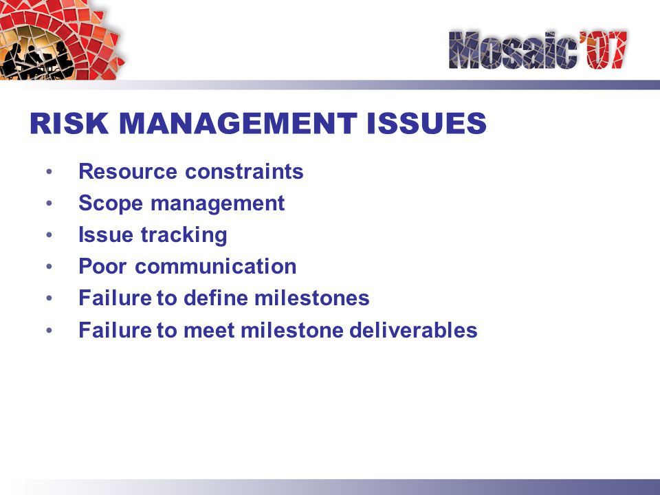RISK MANAGEMENT ISSUES Resource constraints Scope management Issue tracking Poor communication Failure to define milestones Failure to meet milestone deliverables