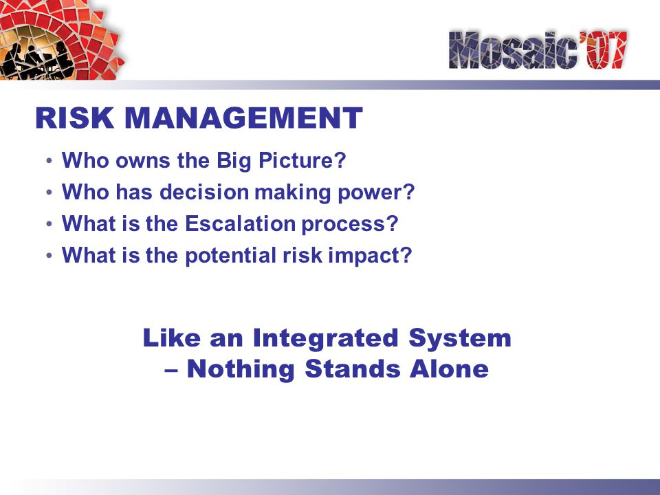 RISK MANAGEMENT Who owns the Big Picture. Who has decision making power.
