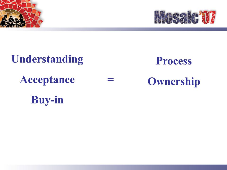 Understanding Acceptance Buy-in = Process Ownership