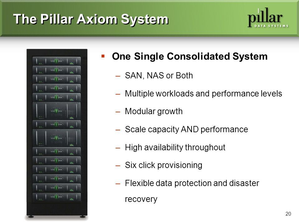 20 The Pillar Axiom System One Single Consolidated System –SAN, NAS or Both –Multiple workloads and performance levels –Modular growth –Scale capacity AND performance –High availability throughout –Six click provisioning –Flexible data protection and disaster recovery