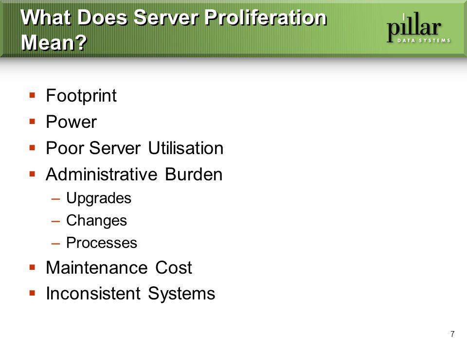 7 What Does Server Proliferation Mean? Footprint Power Poor Server Utilisation Administrative Burden –Upgrades –Changes –Processes Maintenance Cost In